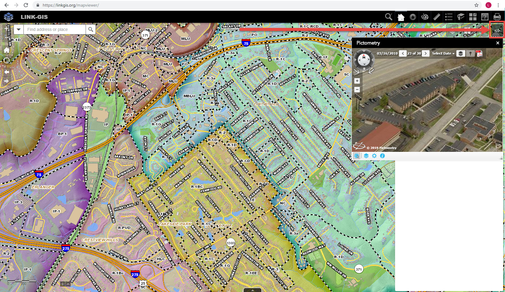 LINK-GIS Adds Pictometry Widget to the Map Viewer - LINK-GIS on gis city map of texas, gis map layers, gis maps online,
